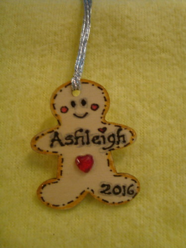 Personalised Mini Wooden Gingerbread Man Boy Christmas Tree Hanger Decoration Names up to 8 letters